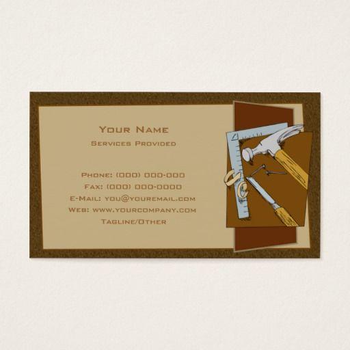 Carpenter Business Card | Zazzle.com | Cards, Business ...