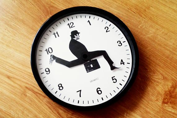 Silly Walk Clock Novelty Clock Funny Wall Clock Black And White
