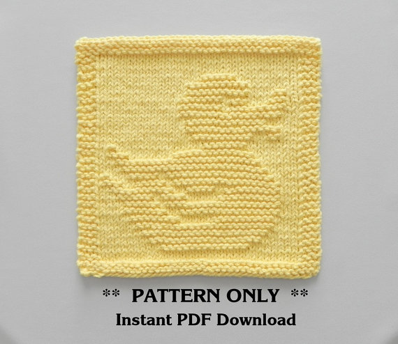 Baby Washcloths Knitting Patterns: RUBBER DUCK Knitting Pattern, Baby Wash Cloth Pattern