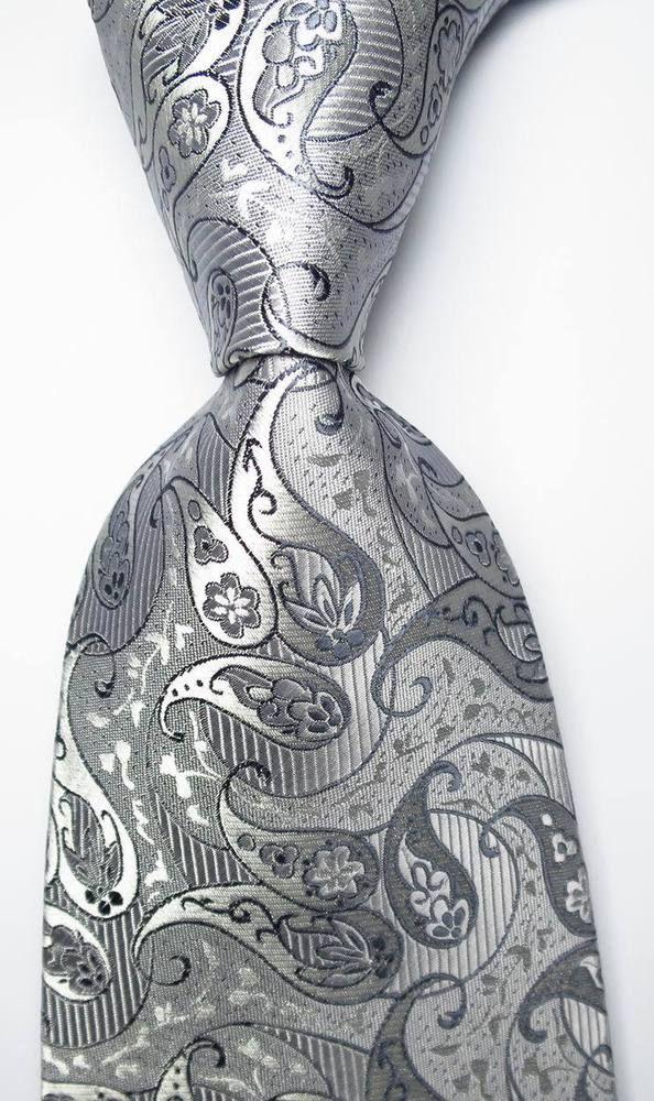 Handmade Silver and Blue Paisley Classic Men/'s Tie Regular Tie Wedding Tie