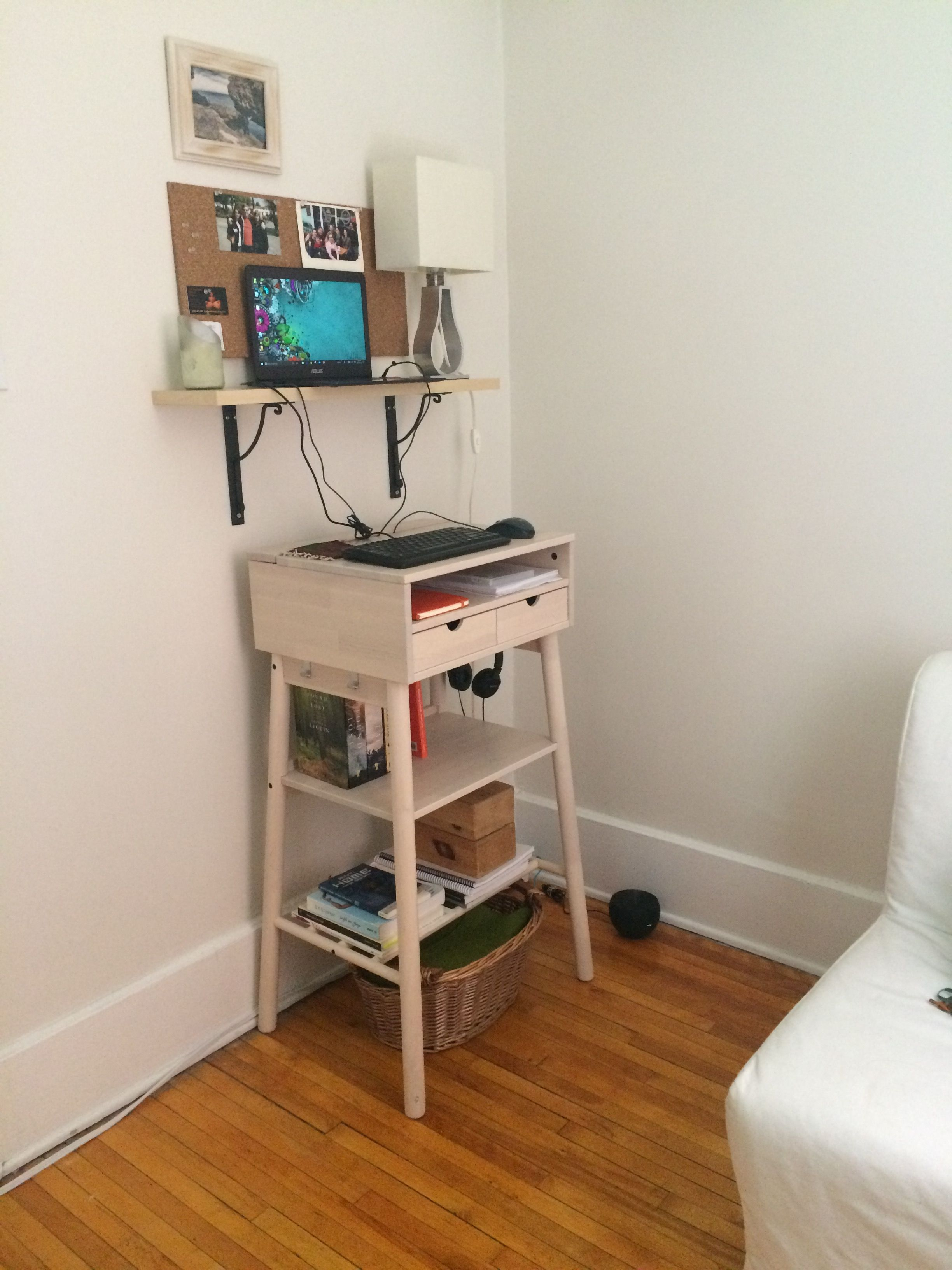 Ergonomic Desk Ikea Knotten Standing Desk With Floating Shelf For Laptop Because I Am 5 4 The Desk Is Too High So I S Ikea Standing Desk Ergonomic Desk Desk