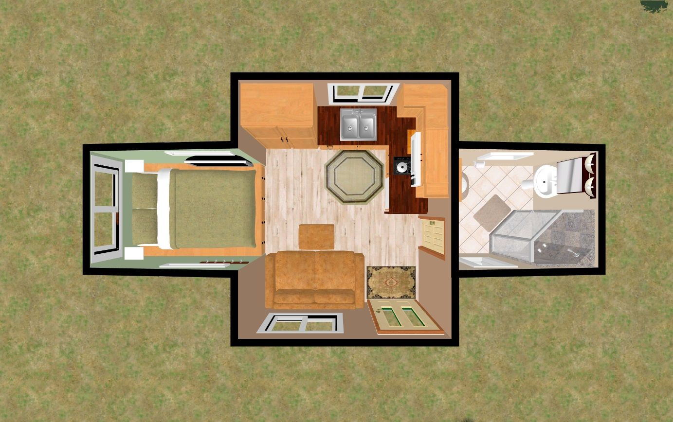 The 204 Sq Ft Cozy Candle Light 3d Top View Cozy House House Plans Tiny House Interior