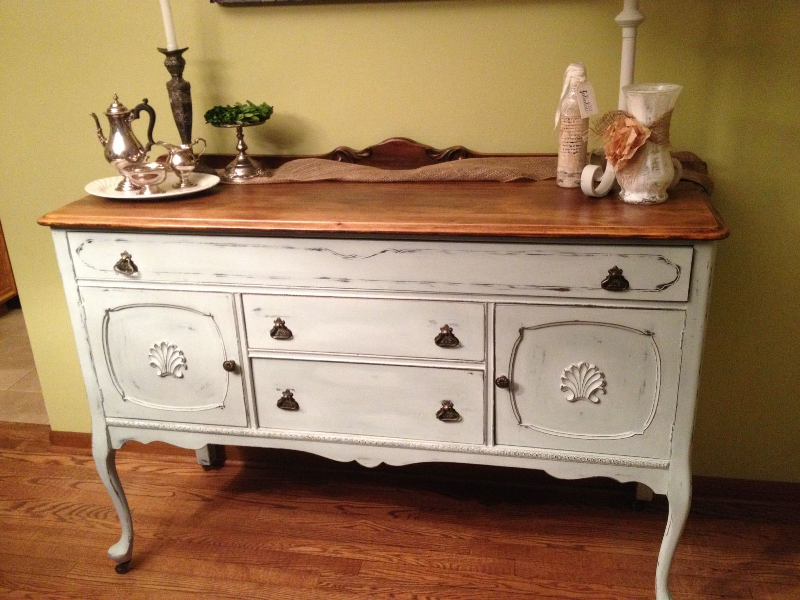 Cute Antique Buffet Painted With A Mixture Of Annie Sloan Old White Duck Egg Blue And Paris Grey Left The Top White Buffet Antique Buffet Furniture Makeover