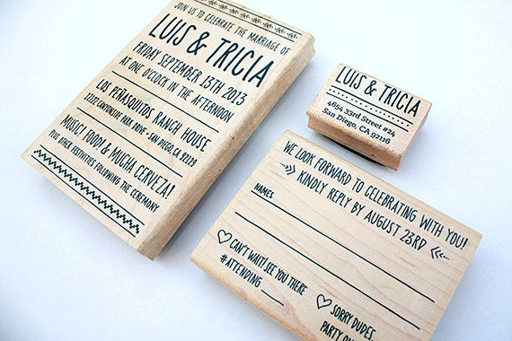 Custom Wedding Stamp Set For Diy Invitations Personalized Includes Return Address Invitation And Rsvp