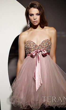 Pretty strapless Baby Doll dress by Terani Couture!