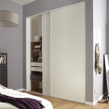 Lot de 2 portes de placard coulissante blanc l210 x H250 cm - porte d armoire coulissante