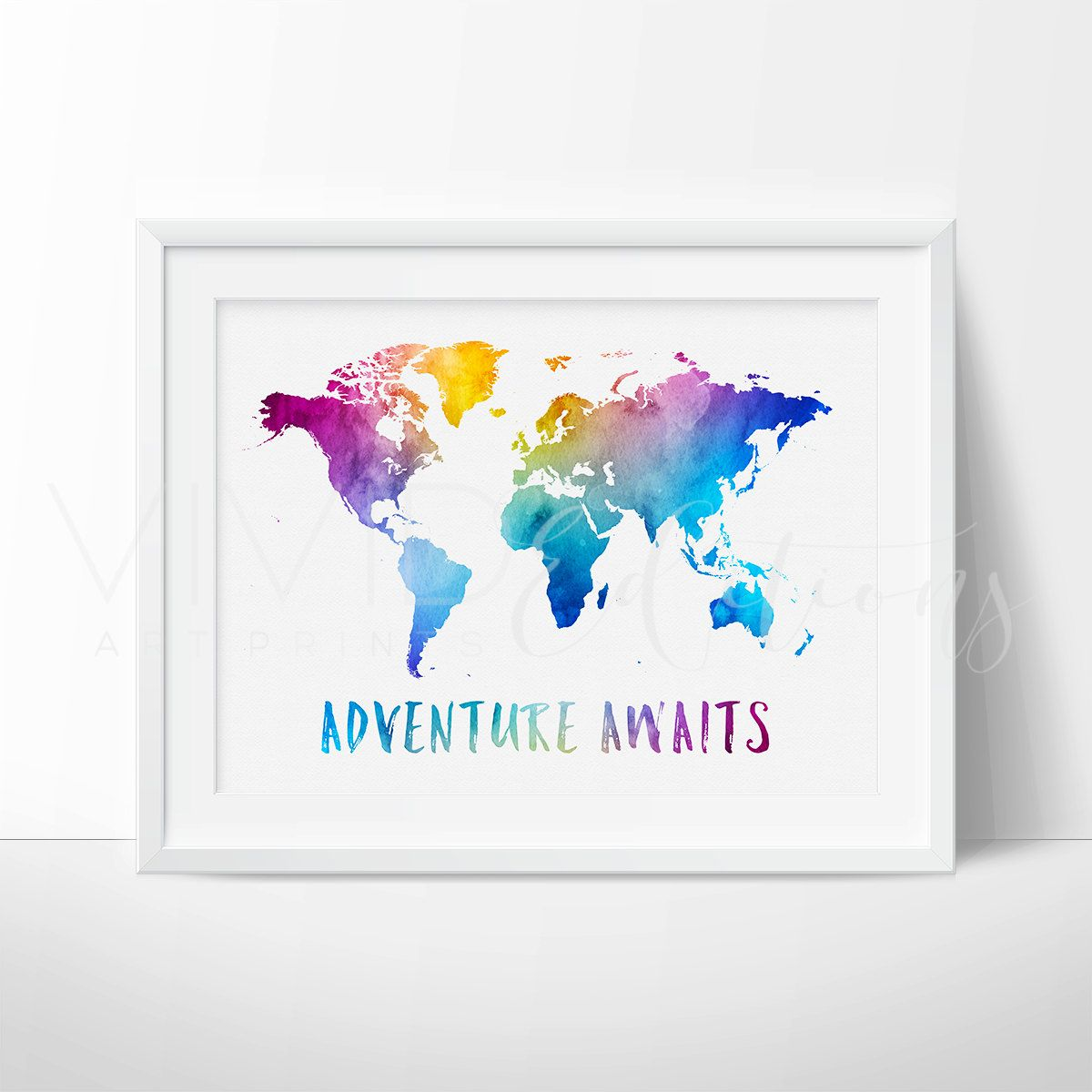 World Map Art, Trending Art, World Map Print, Adventure Awaits ...
