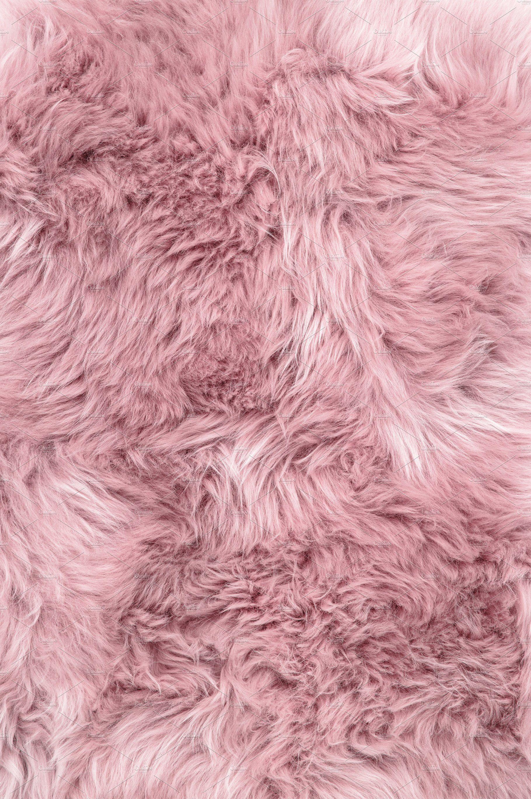 Sheep Fur Pink Sheepskin Rug Backgro Rozovye Oboi Vintazh Oboi