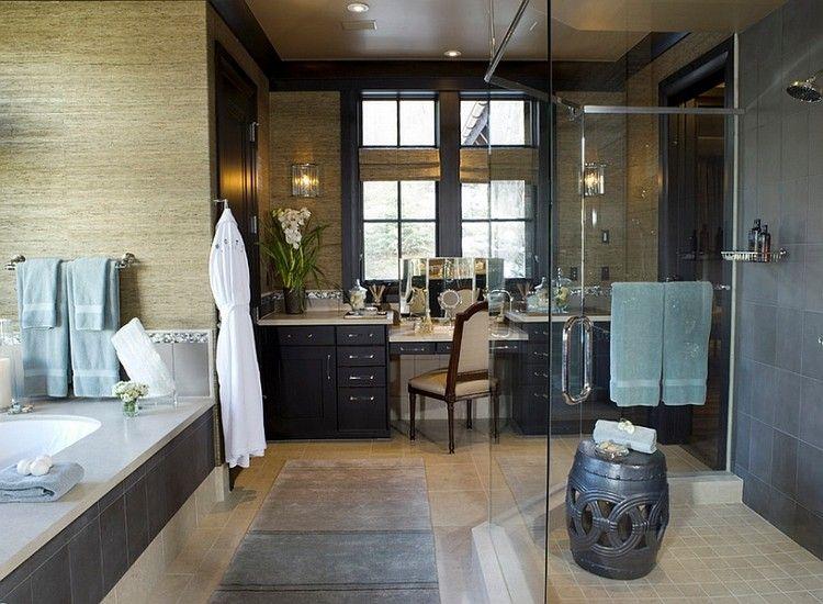 High Quality Orientalische Deko Badezimmer  Chinesicher Gartenstuhl Schwarz Dusche Glastrennwand