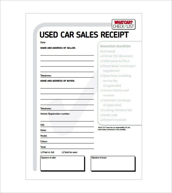 Car Sale Receipt , Receipt Template Doc for Word Documents in - checklist template word
