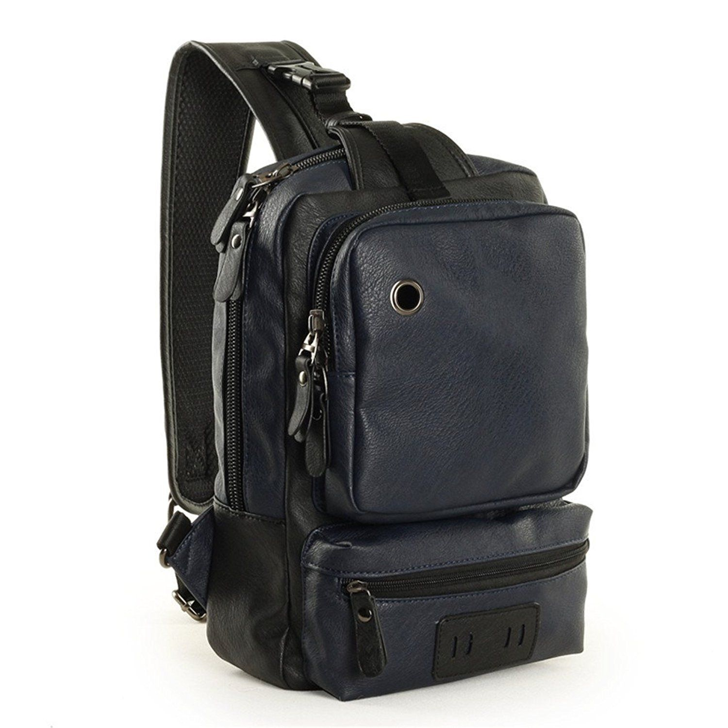 GumstyleŒ¬ Fashion Men's Leather Cross Body Daypacks Chest Pack Bag Black/Blue/Brown ** This is an Amazon Affiliate link. You can find out more details at the link of the image.