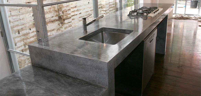 Concrete benchtop polished concrete kitchen concrete