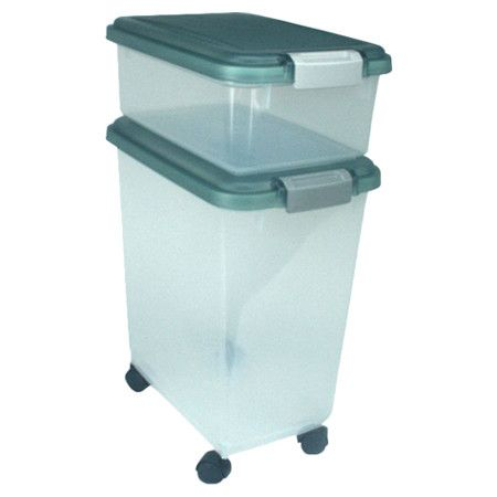 Wheeled Airtight Food Container With Two Bins On Wheels Product