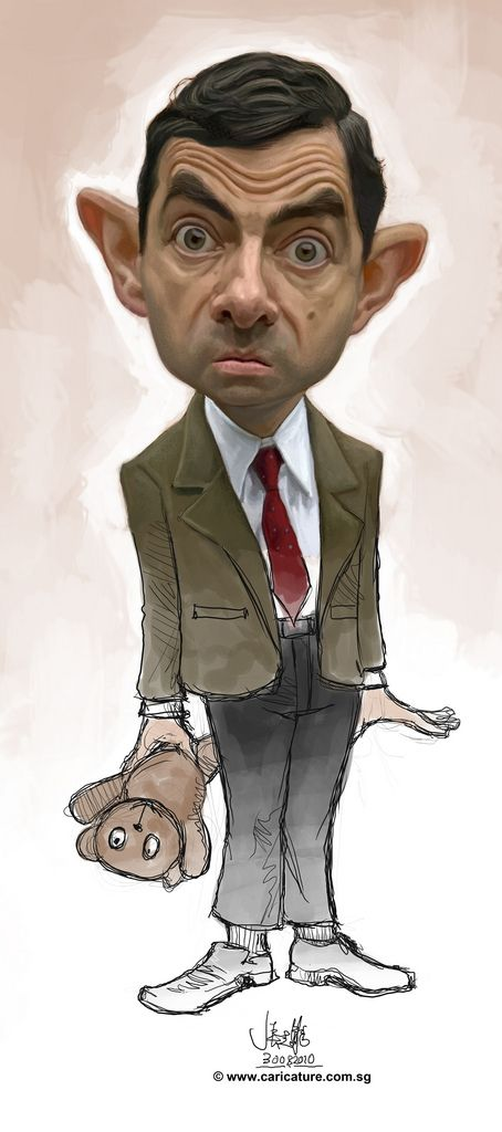 Digital Caricature Of Mr Bean Caricature Funny Face Drawings Funny Caricatures