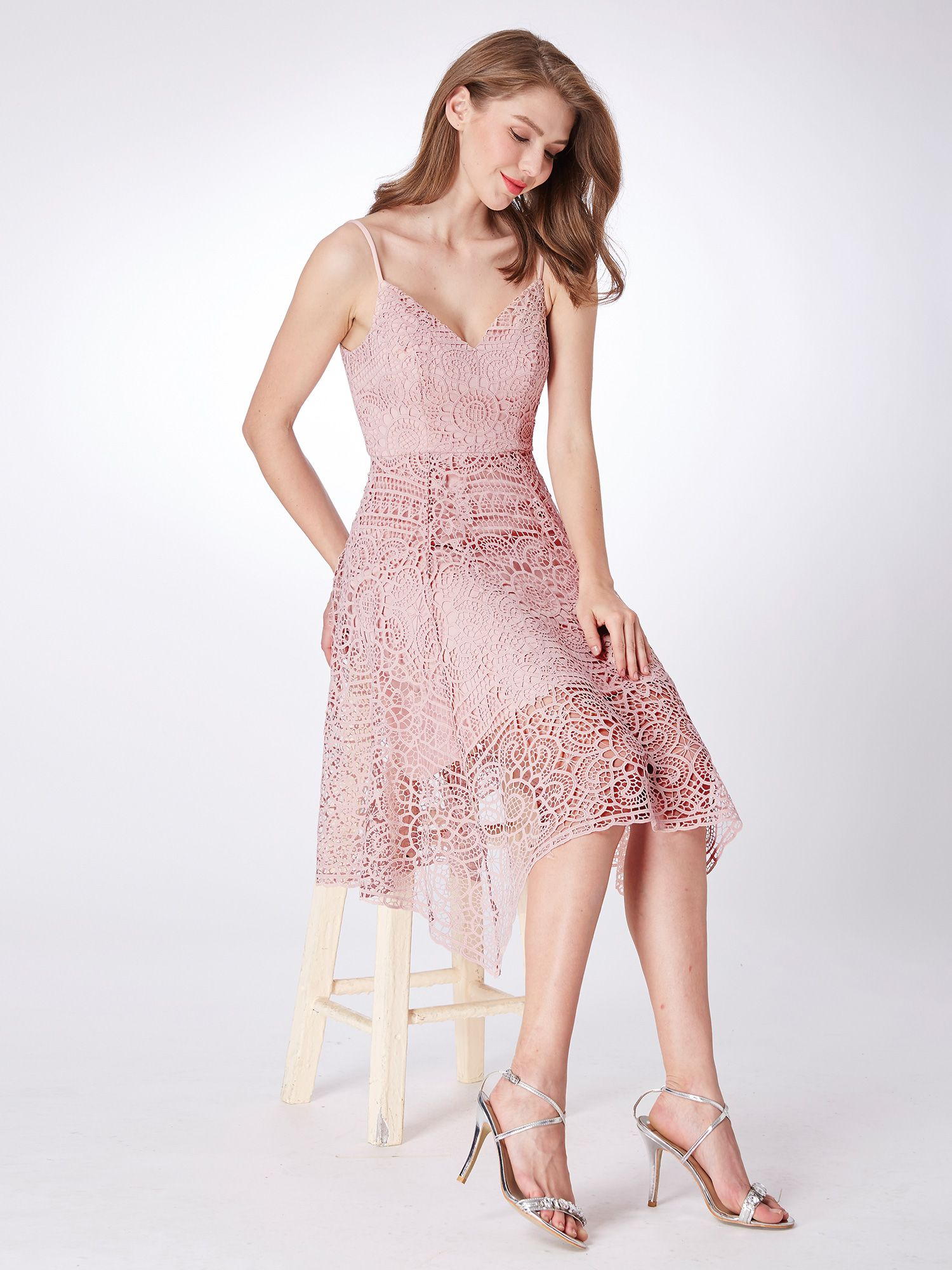 00a0eb6ba1443 Ever-Pretty Short Formal Dress Lace Spaghetti Strap Bridesmaid Gown Pink  04036#Dress#Lace#Formal