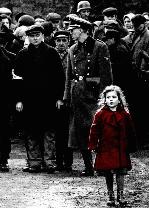 Schindler's List, 1993, Scene of The Girl in the Red Coat, Steven Spielberg Director.