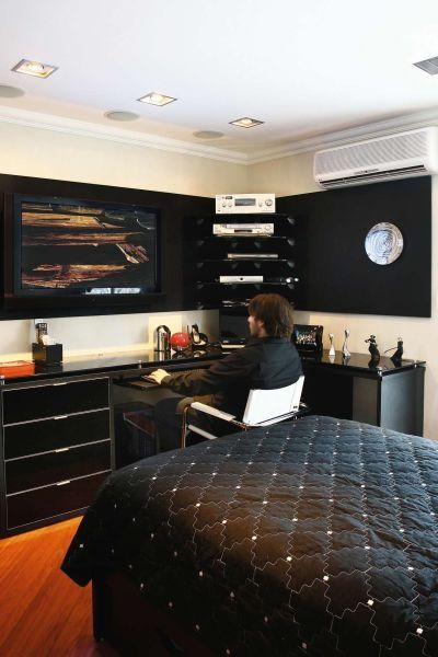 he would pick this sweet set up so he could work from home some days and but in long late hours. Black Bedroom Furniture Sets. Home Design Ideas