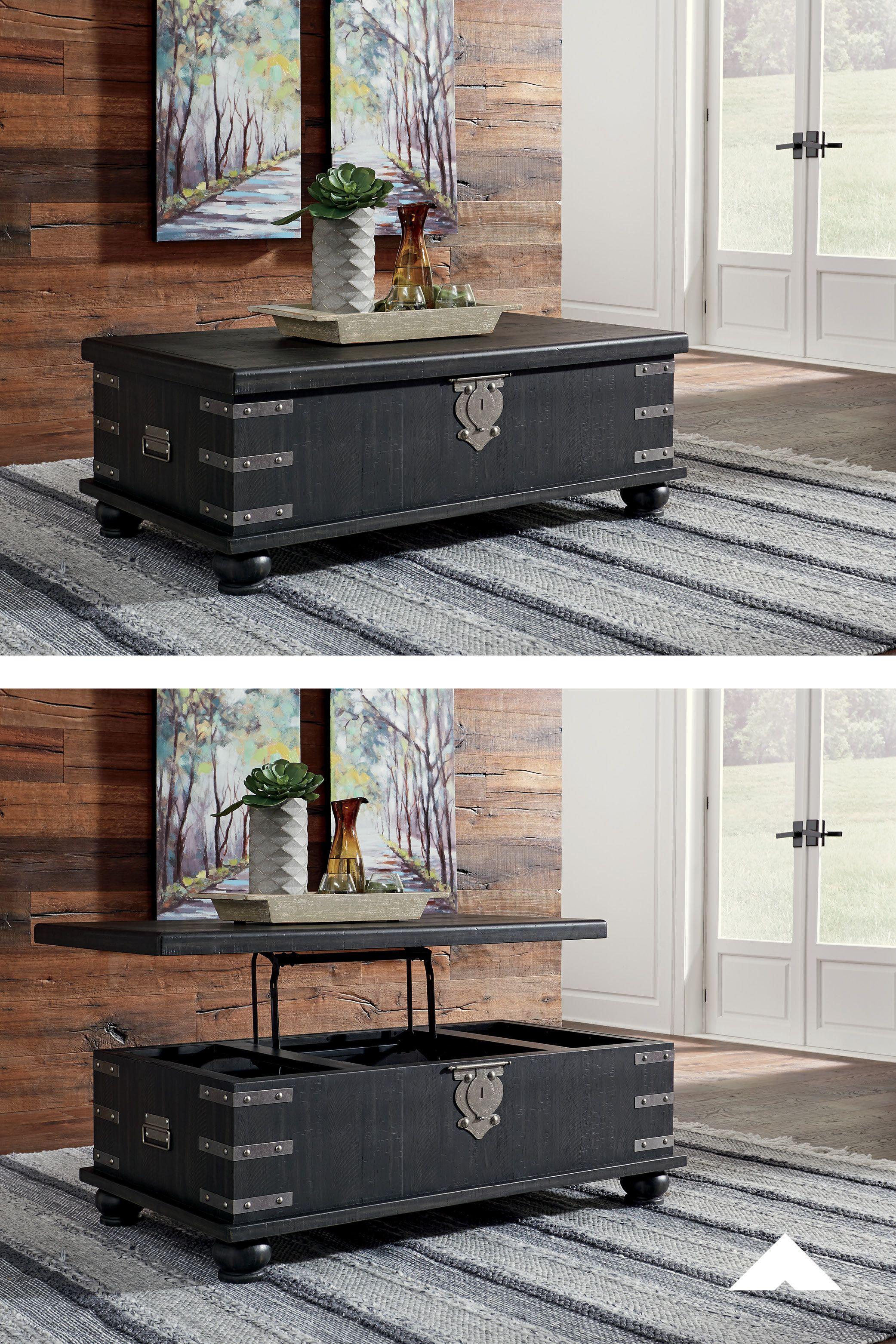 Delmar black rect lift top cocktail table raise the bar