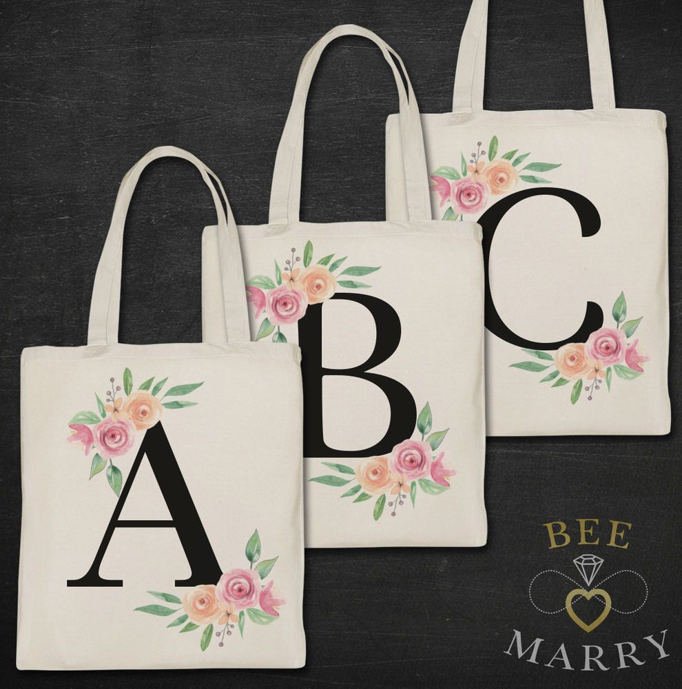 Alphabet PERSONALISED Tote Bag ANY LETTER Shopper Pink