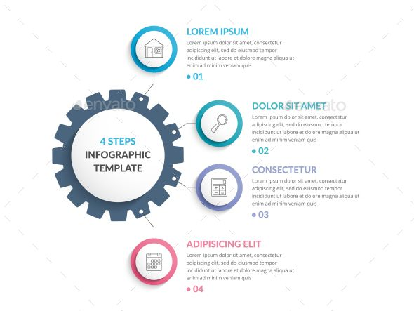 infographic template with gear  infographic