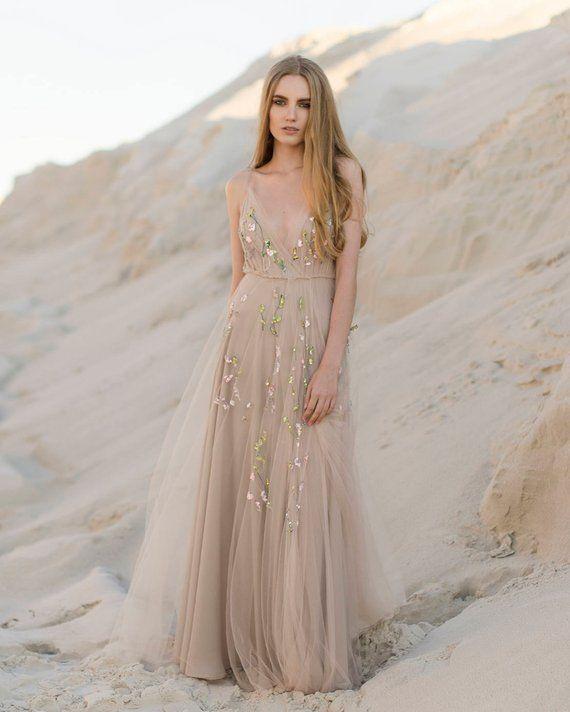 Beige Wedding Dress Hand Embroidered Bridal Gown Embroidered Wedding Dress Beige Wedding Dress Wedding Dresses Whimsical