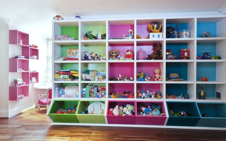 Floor To Ceiling Rainbow Storage. A Colour For Each Child!