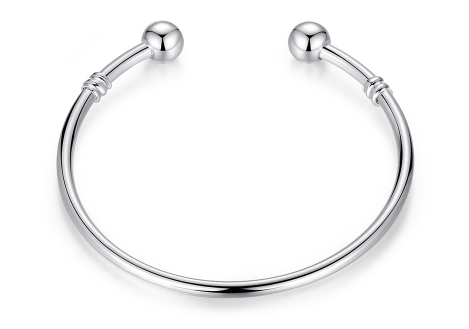 .925 Sterling Silver Open Clasp Bangle Bracelet for Her