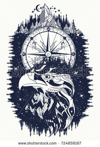 55c10d75e Compass and eagle tattoo and t-shirt design. Ethnic hawk tribal style.  Astrological symbols, ethnic style, falcon in rocks tattoo.