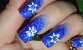 Deep blue nail art