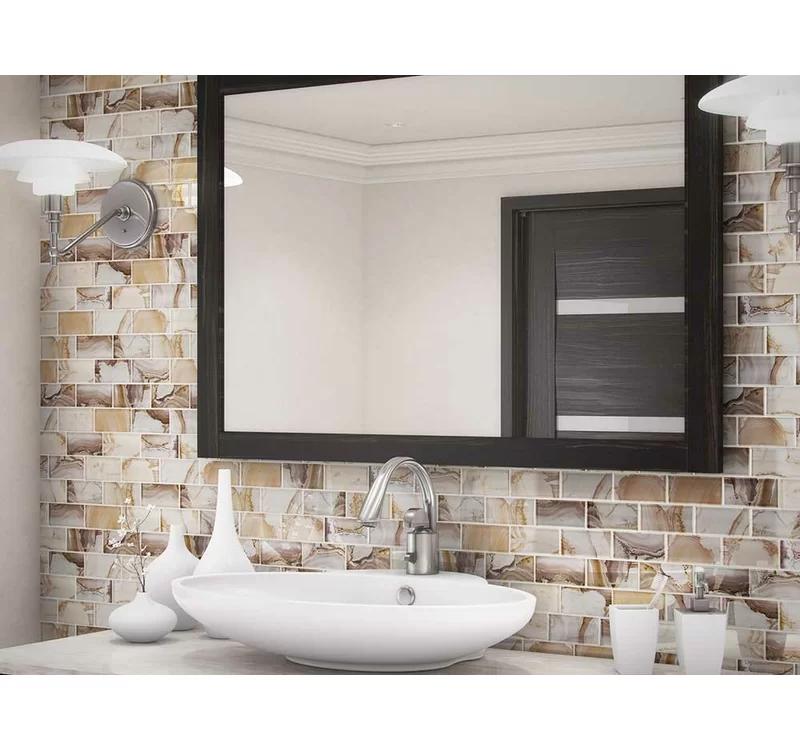 Linear Foil 2 X 4 Glass Mosaic Tile In Glossy Brown Glass Mosaic Tiles Glass Mosaic Tiles Bathroom Mosaic Bathroom Tile