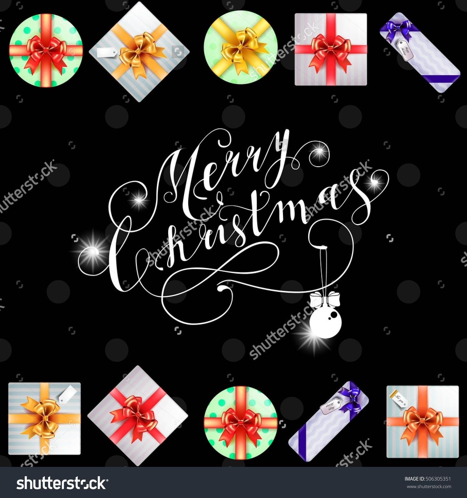 Lettering Merry Christmas And Happy New Year Christmas Symbols And