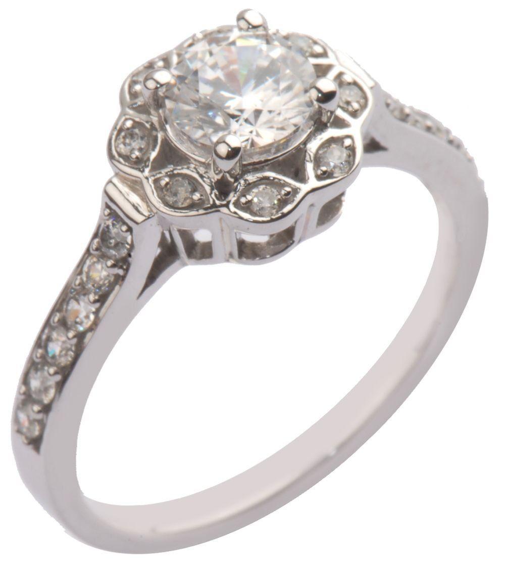 14k White Gold Halo Bridal Engagement Ring (1.00 cttw, H-I Color, I1-I2 Clarity), Size 7: Jewelry: Amazon.com