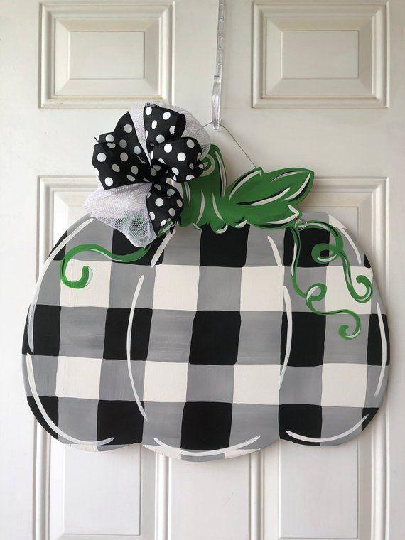 Buffalo check plaid pumpkin door hanger, fall pumpkin door hanger, Halloween door hanger