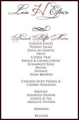 Wedding Buffet Menu Cards Bing Images