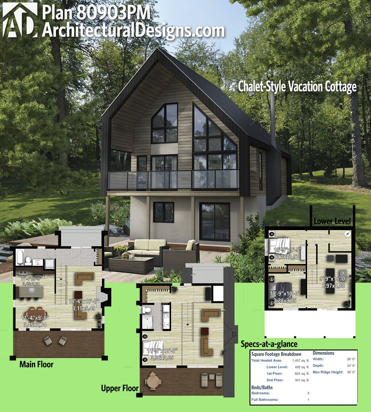 Plan 80903pm Chalet Style Vacation Cottage Cottage Floor Plans House Plans Sloping Lot House Plan