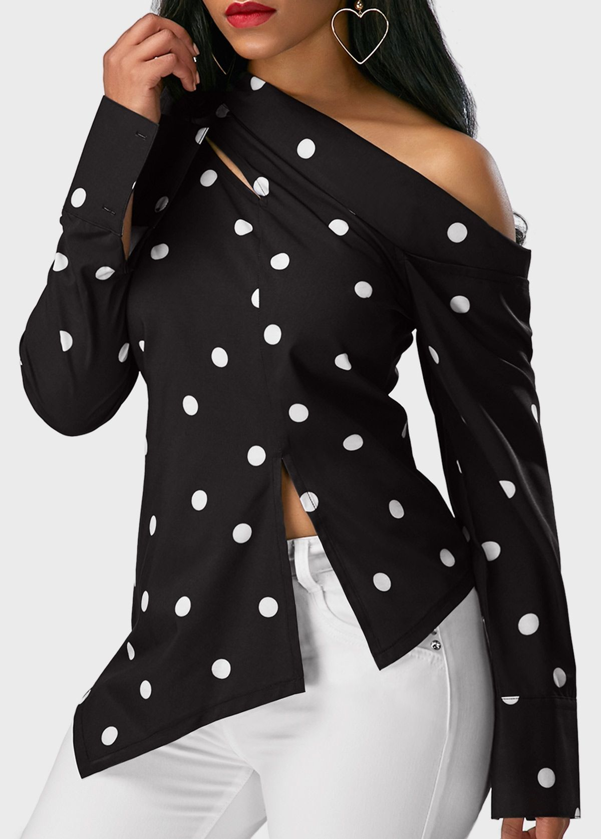5c32947fd5822b Beautiful Tops  Tops  rosewe Black And White Blouse