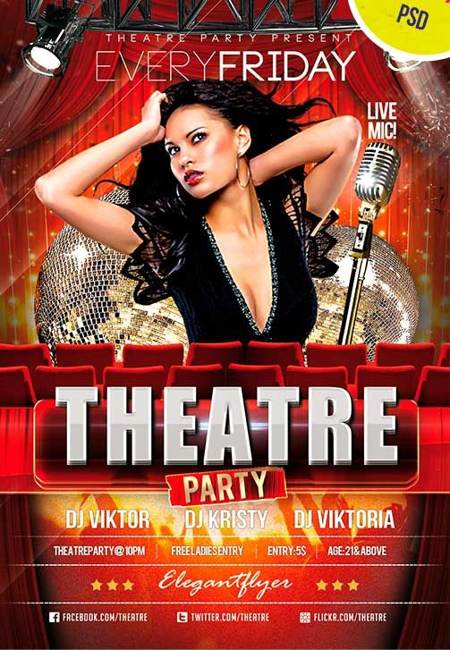 Theatre Party Club and Party Free Flyer PSD Template - http - movie night flyer template