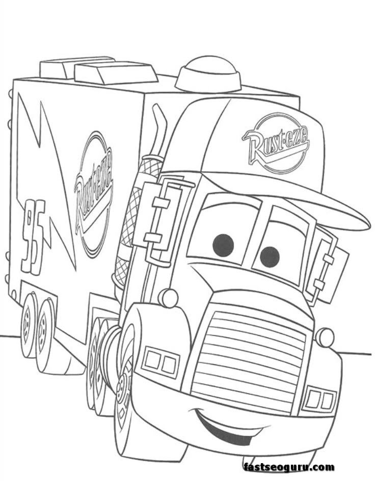 free for kids mack car 2 coloring pages disney - Cars 2 Coloring Pages To Print