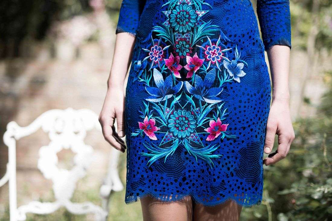 Matthew Williamson's PF15 Blue Jardin Lace Embroidered V-Neck Dress. Click to shop the look.