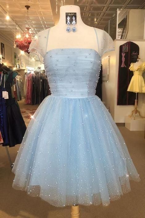 Cute Light Sky Blue Homecoming Dresses with Cap Sleeves - Tulle homecoming dress, Blue homecoming dresses, Elegant prom dresses, Sweet 16 dresses, Prom dresses short, Homecoming dresses - Cute Light Sky Blue Homecoming Dresses with Cap Sleeves, Never miss out on the trendy, instyle dresses ever again! You can be the star of your prom in your 2020 prom dress!