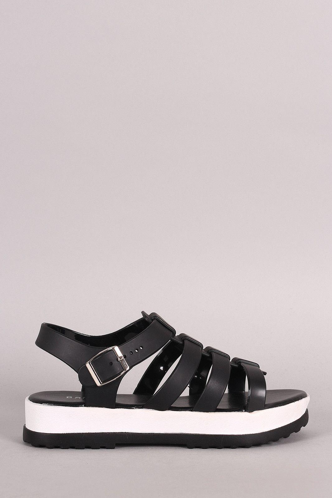 Black sandals ultima online - Bamboo Jelly Open Toe Fisherman Flatform Sandal