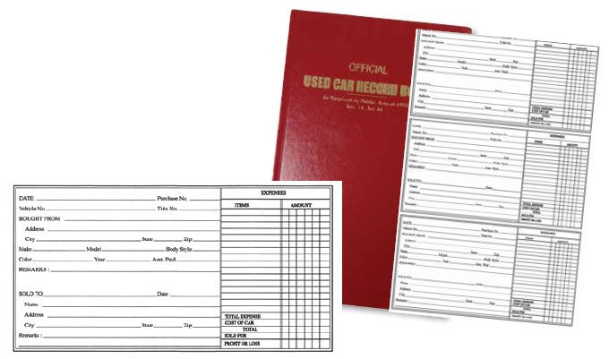 Used Car Record Book- Police Book This hard cover version of the