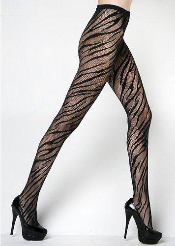 9e6d4b013935d Amazon.com: Black Nylon Zebra Animal Print Pantyhose: Clothing ...