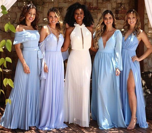 10 Vestidos azul claro para madrinhas Pronta pra Festa