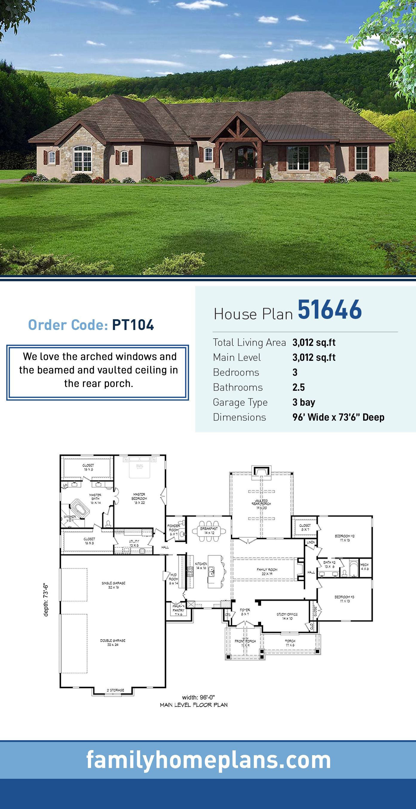 Ranch Style House Plan 51646 With 3 Bed 3 Bath 3 Car Garage House Plans Ranch Style Homes Ranch Style House Plans