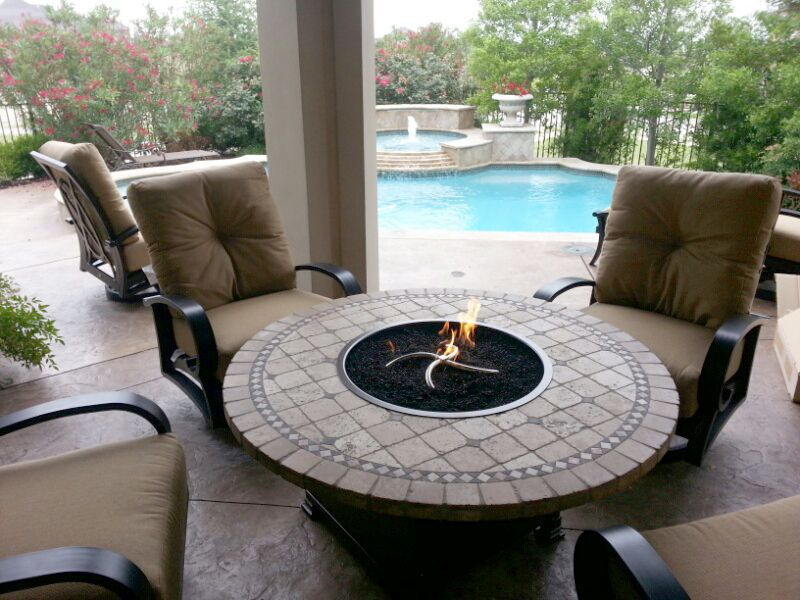 Mallin Salisbury swivel club chairs with Vesuvius fire pit by OW