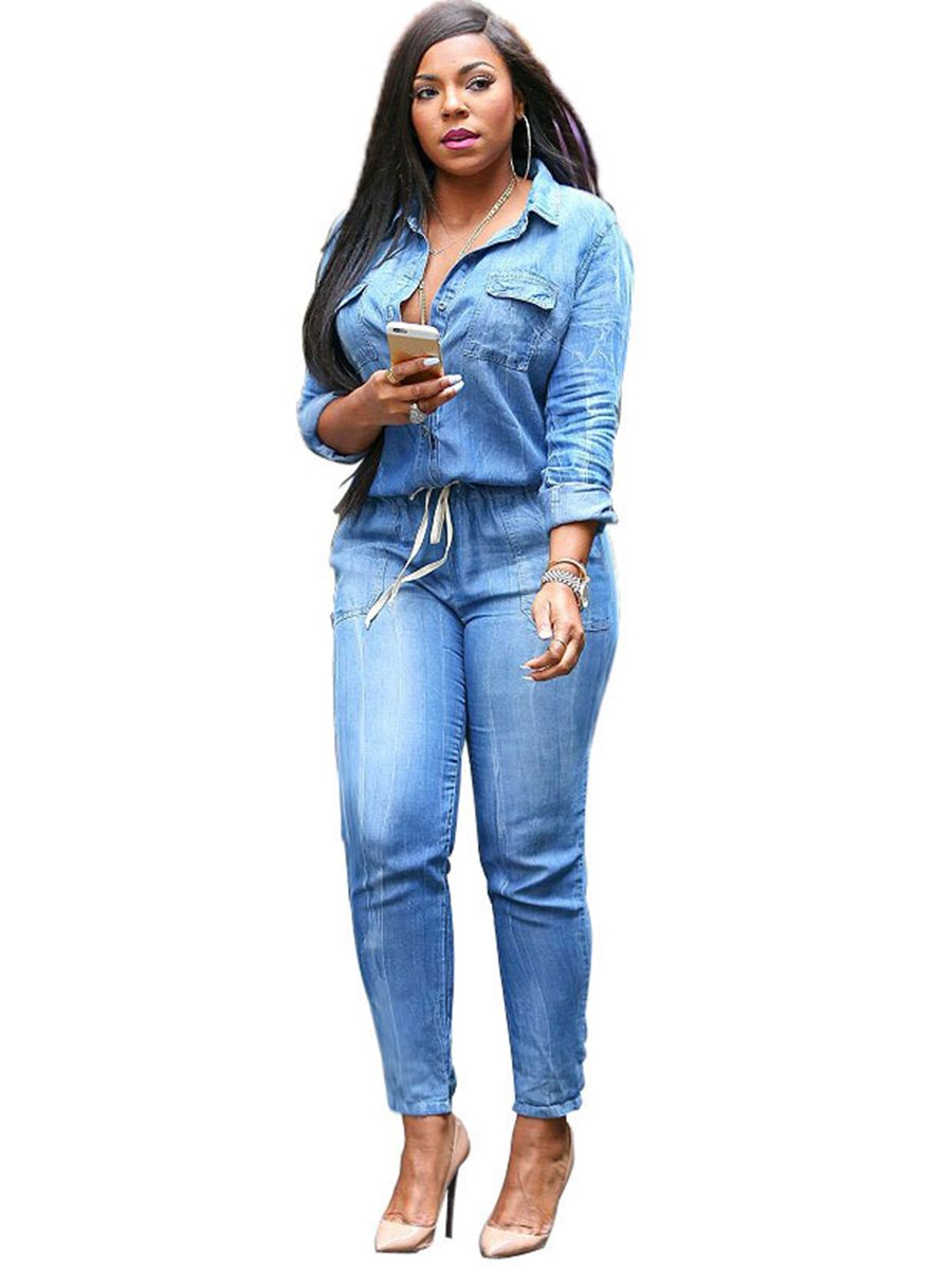 Women Jeans Jumpsuits and Rompers Long Sleeve Skinny Pants Jumpsuit