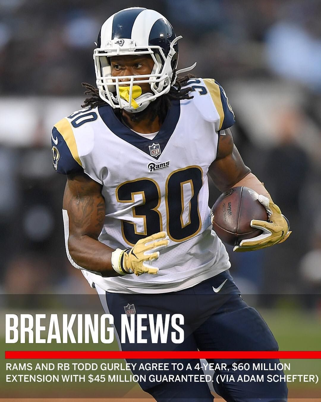 Rams Have Signed Tg4hunnid To The Largest Guaranteed Deal For A Running Back In League History Per Adamschefter Nfl History Running Back League