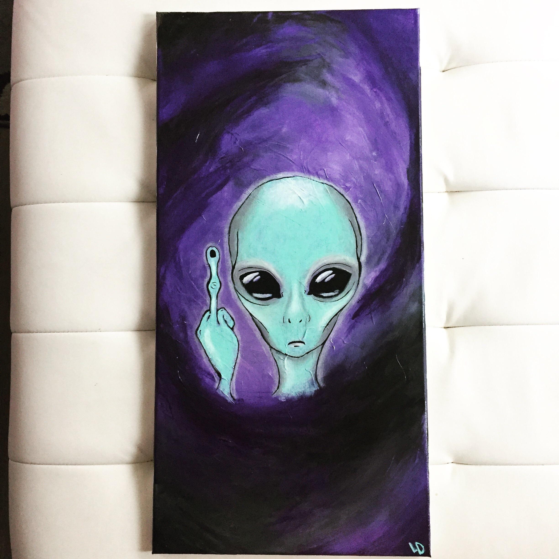 Stay Weird Acrylic Canvas Also Glows In The Dark Paint Ideas - Black canvas painting ideas