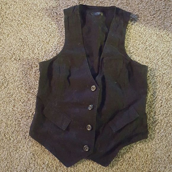 Black Tuxedo Vest Black tuxedo vest. 3 faux pockets, 4 buttons, and adjustable waist cinch in the back. Needs ironed. Old Navy Jackets & Coats Vests